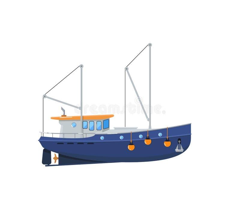 Barco rastreador de la pesca aislado en el icono blanco libre illustration