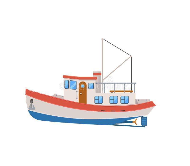Barco rastreador de la pesca profesional aislado en el icono blanco libre illustration