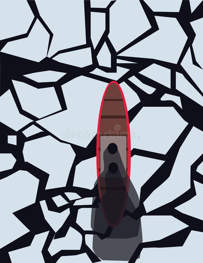 Barco rojo y marrón con vapor en un SE congelado libre illustration