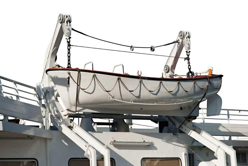 Barco salva-vidas em um guincho do barco fotos de stock