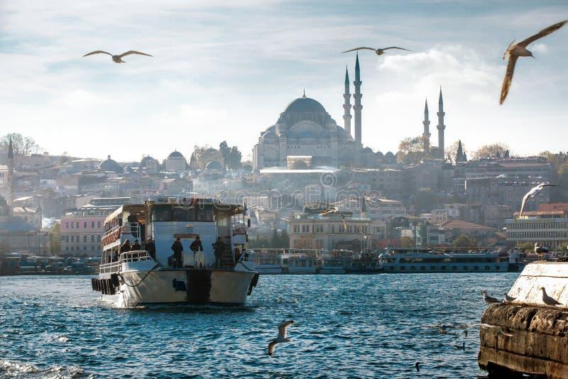 Barco a vapor e mesquita de Suleymaniye imagens de stock royalty free