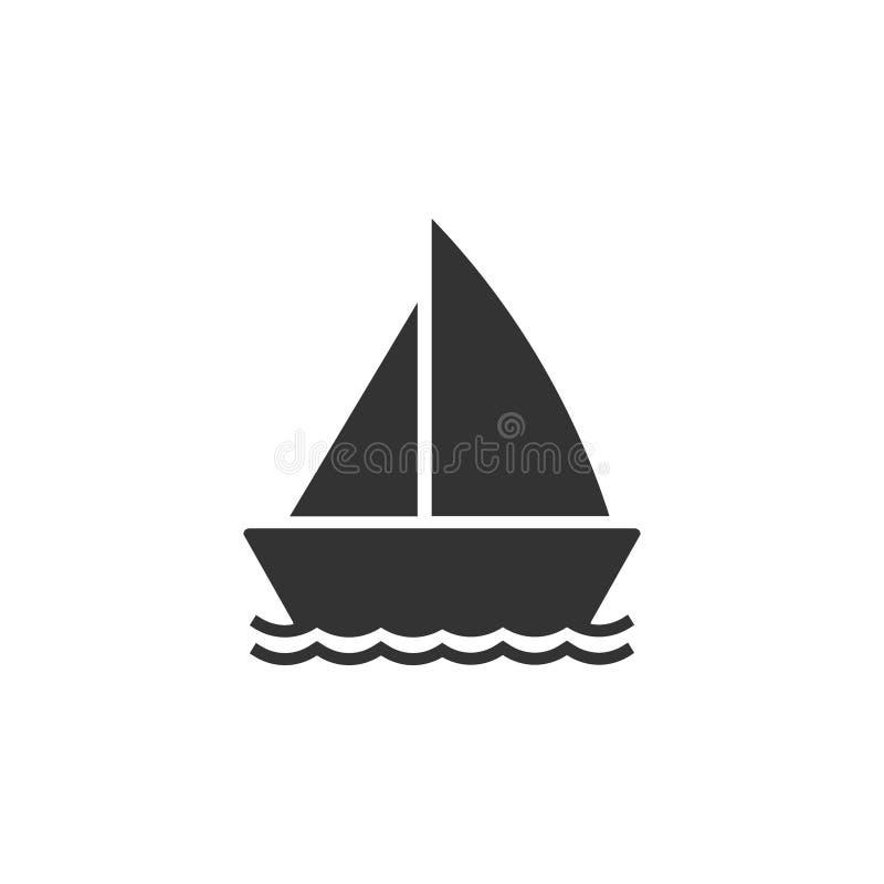 Barco, vela, navigação, navio, ícone do iate Ilustra??o do vetor, projeto liso ilustração royalty free