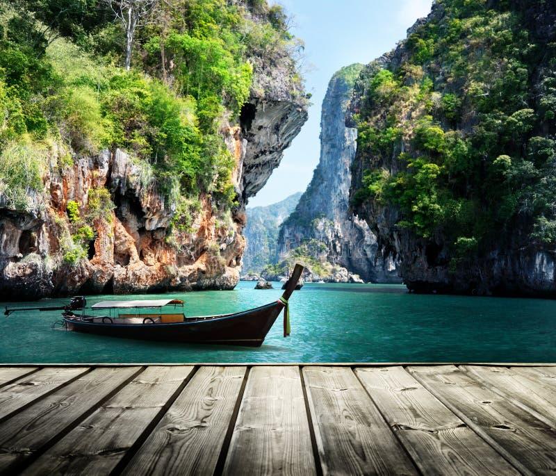 Barco y rocas largos en la playa railay en Krabi