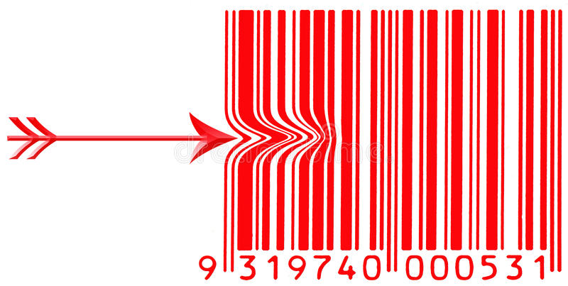 Download Red Barcode With A Arrow Pushing Left Side Stock Illustration - Image: 16074478
