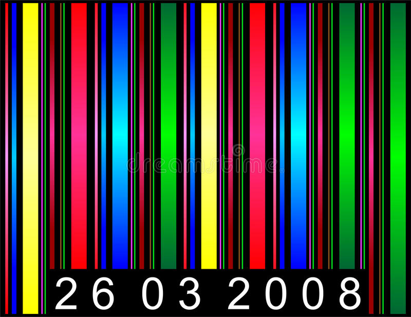 Barcode. Illustration with colored shapes stock illustration