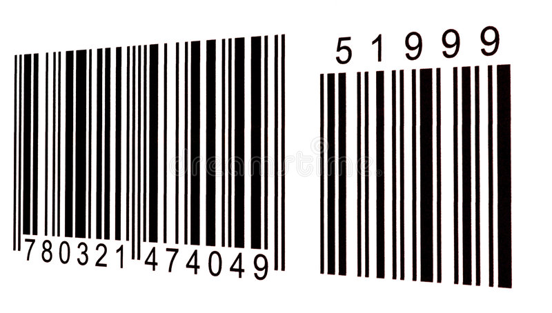 Barcode. Macro image of a bar code with numbers royalty free stock photos
