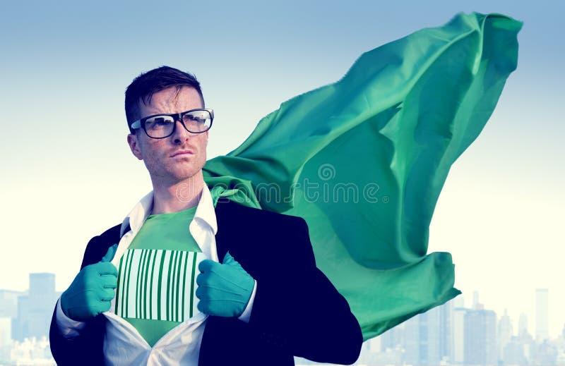 Barcode bohatera biznesmena sukcesu upełnomocnienia Silny pojęcie zdjęcie royalty free