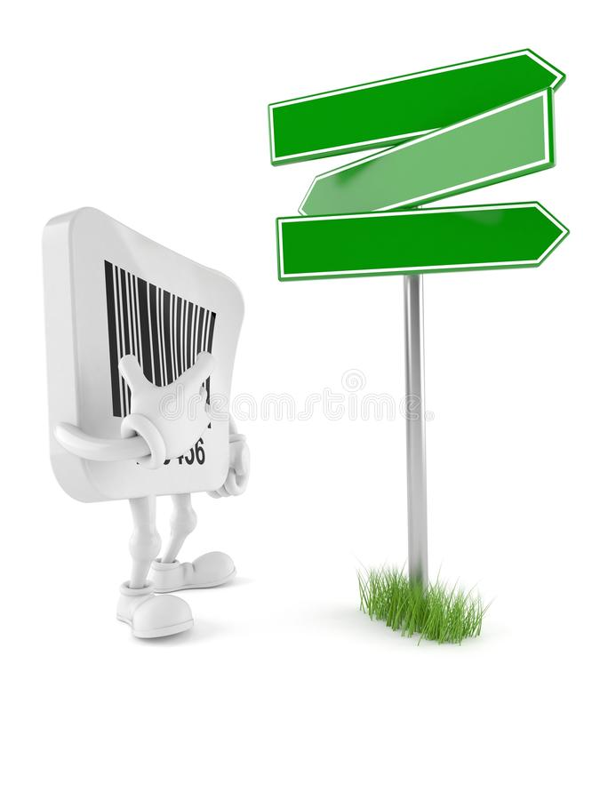 Barcode character with blank signpost. Isolated on white background vector illustration