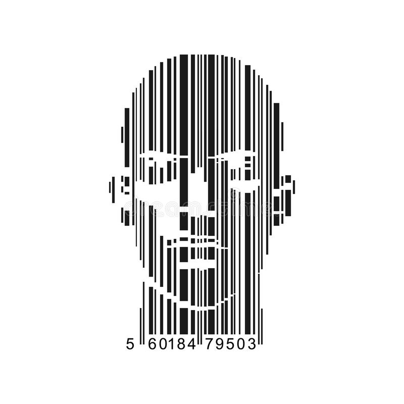 Barcode Face. Vector of bar-code combined with man face royalty free illustration
