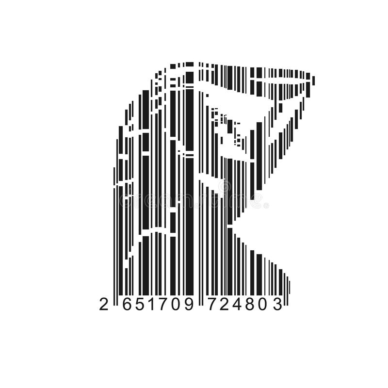 Barcode Female. Vector of bar-code combined with woman shape stock illustration