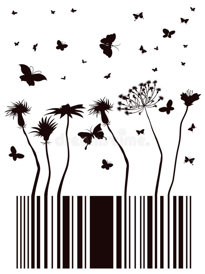Download Barcode garden stock vector. Image of butterfly, flower - 22307918