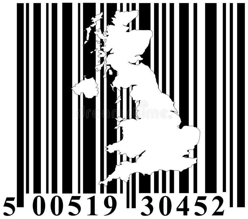 Download Barcode With Great Britain Outline Stock Vector - Image: 7051508