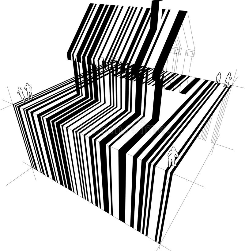 Barcode house diagram. Barcode diagram in form of a detached house (another house diagram from the collection, all have the same point of view/angle/perspective royalty free illustration