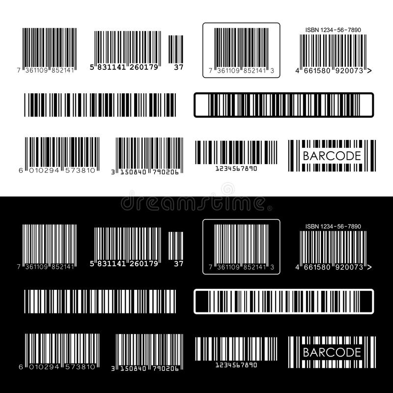 Barcode. Isolated on white and black background