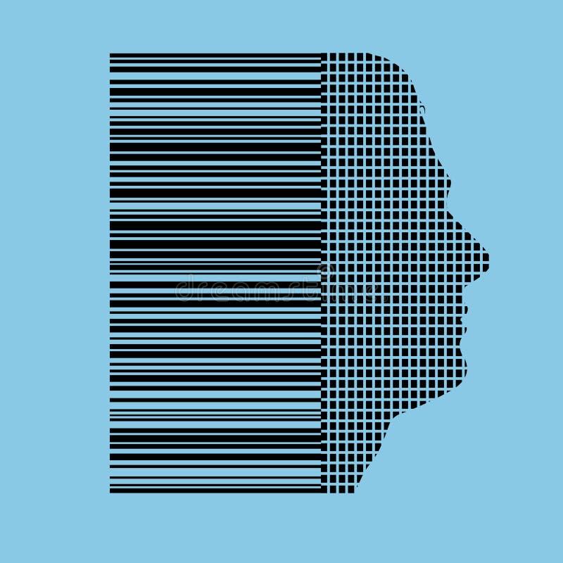 barcode istoty ludzkiej profil ilustracji