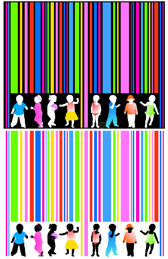 Barcode and kids. Illustration of barcode and kids vector illustration