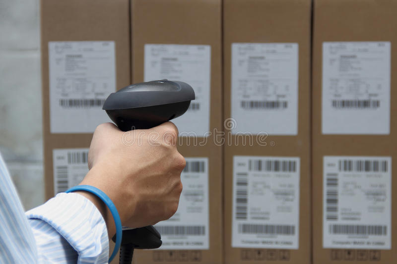Barcode label scanner with label stock photography