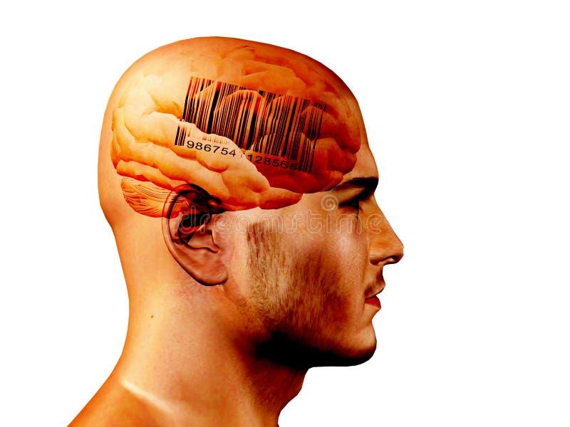 barcode mózg ilustracja wektor