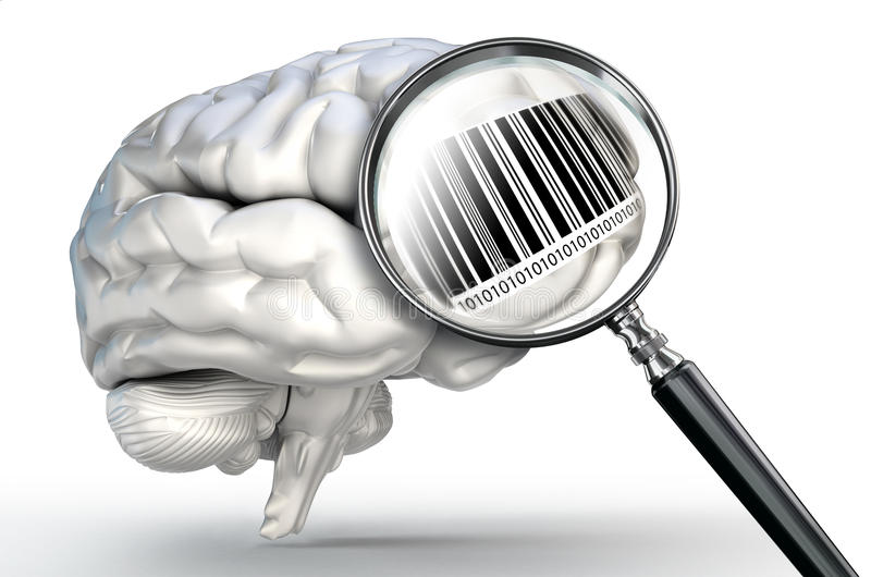 Barcode on magnifying glass and human brain. On white background royalty free illustration