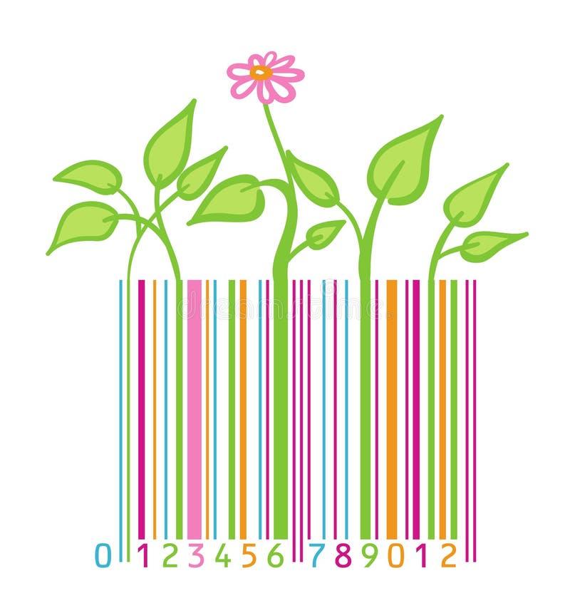 Barcode mit Blume und Blättern vektor abbildung