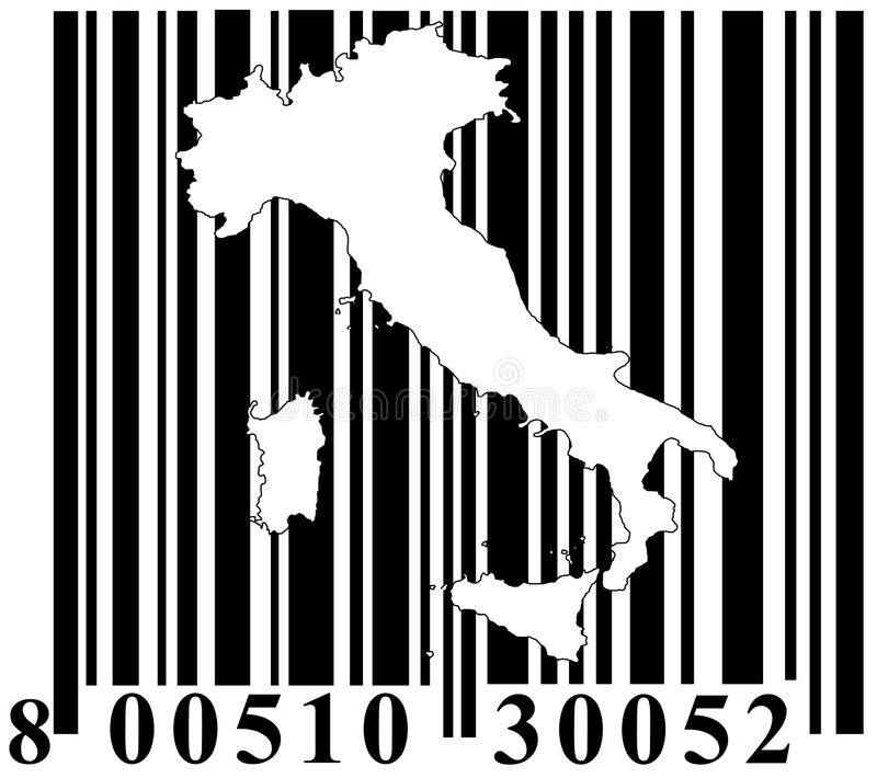Barcode mit Italien-umreiß vektor abbildung