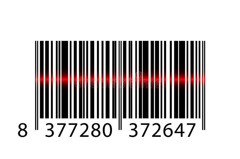 Barcode mit Laserstrahl stock abbildung