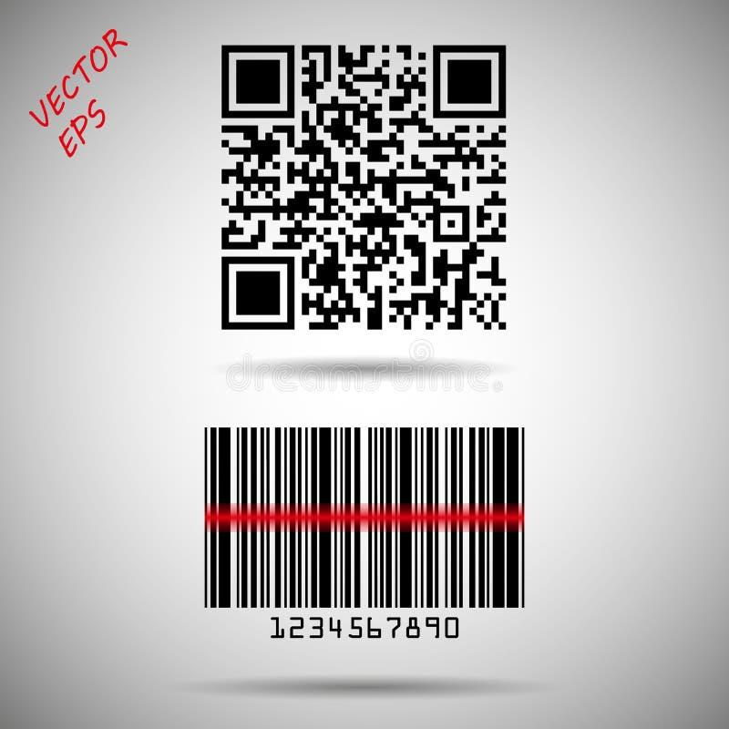 Barcode och isolerad QR-kod Vektorbarcodematris som spårar information om produkt, datumID och marknadsföring royaltyfri illustrationer