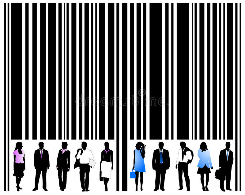Barcode and people royalty free illustration