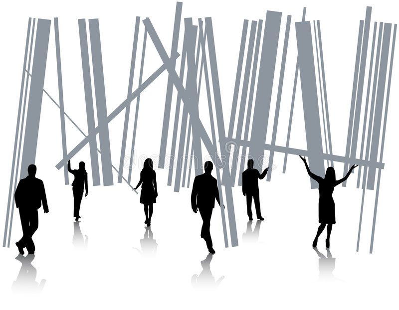 Barcode and people vector illustration