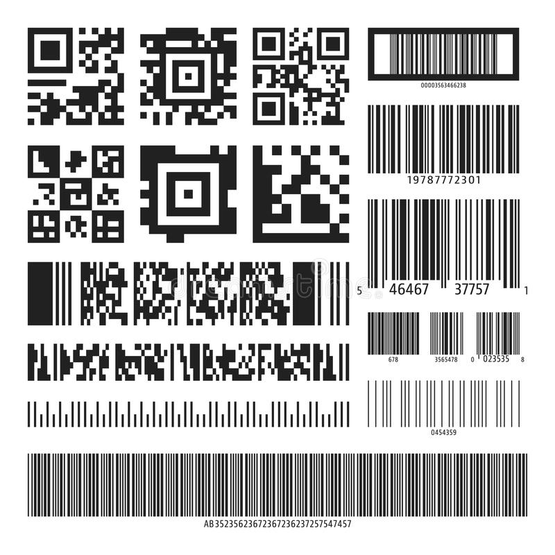 Barcode and QR code set vector illustration