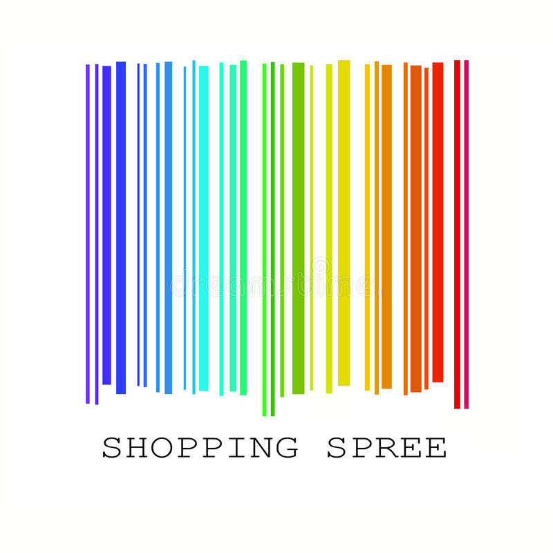 Barcode in rainbow colors vector illustration