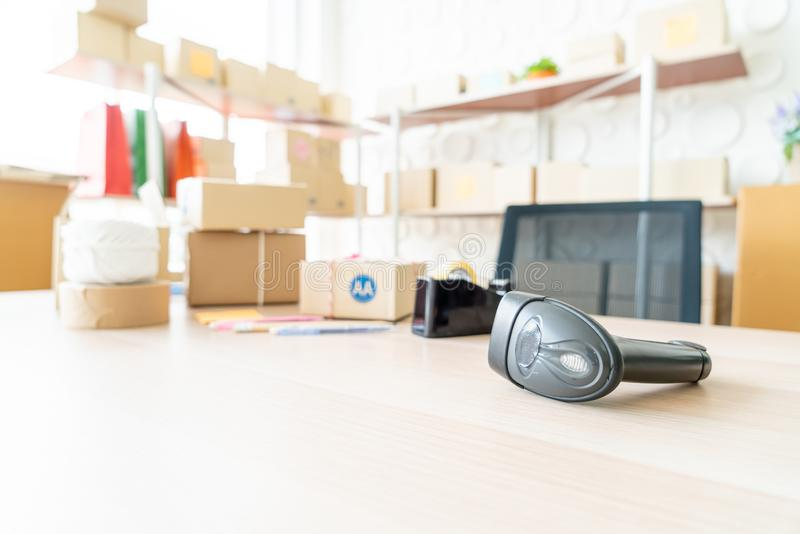 Barcode reader on table. Online selling concept stock photos