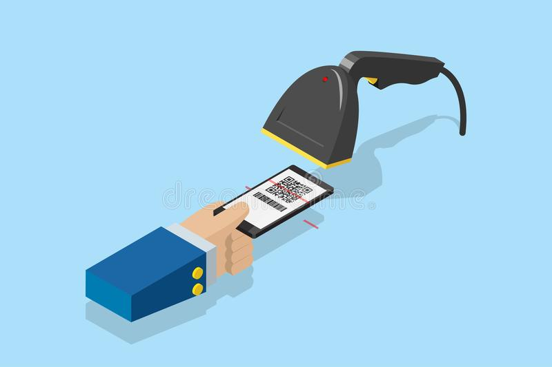 Barcode scanner scanning qr code on smartphone for e-payment, technology and business concept royalty free illustration