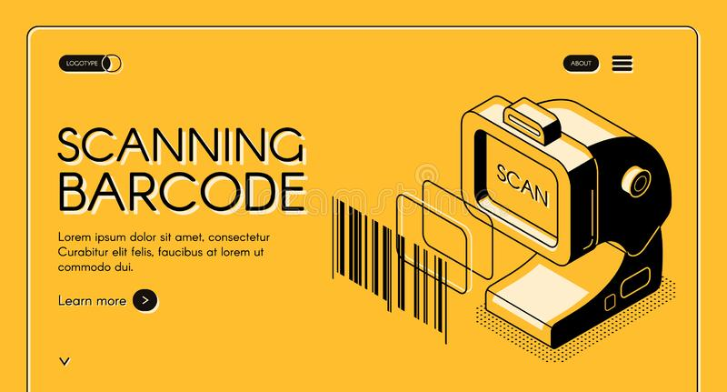 Barcode scanning service website vector template. Barcode scanning equipment store web banner or site isometric vector with desktop barcode reader, stationary vector illustration