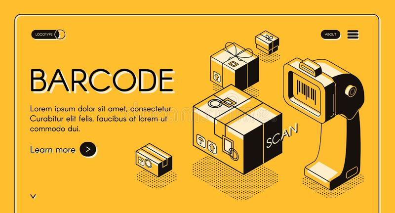 Barcode scanning service website vector template. Barcode scanning web banner or site isometric vector with desktop barcode reader, stationary laser scanner and stock illustration