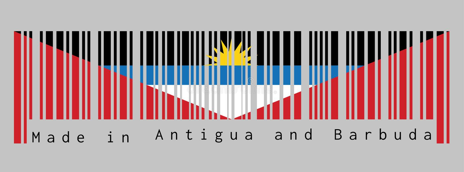 Barcode set the color of Antigua and Barbuda flag, black blue and white, with two red triangles with yellow half-sun. vector illustration