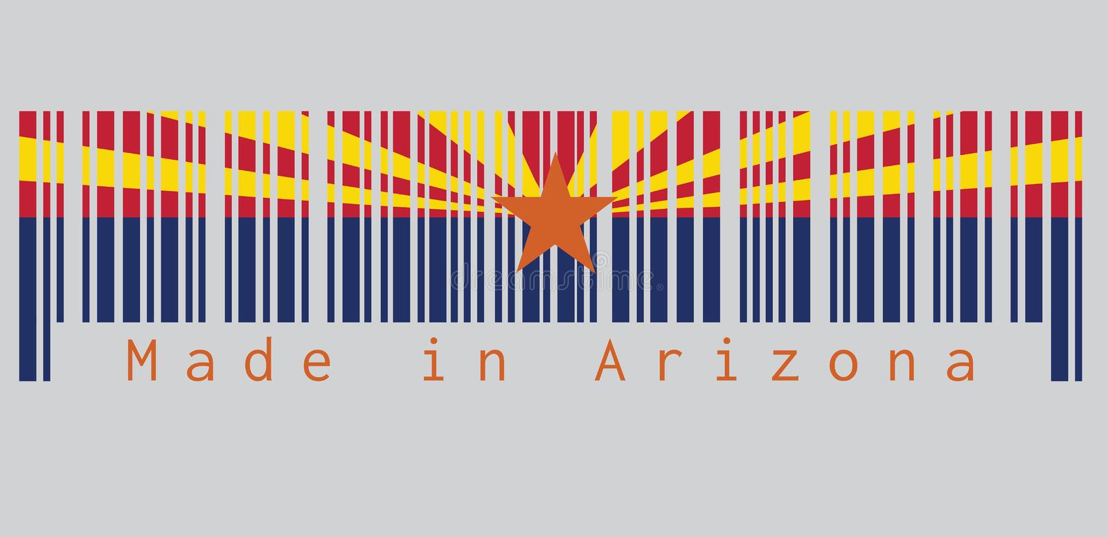 Barcode set the color of Arizona flag, The states of America, red and weld-yellow on the top half. vector illustration