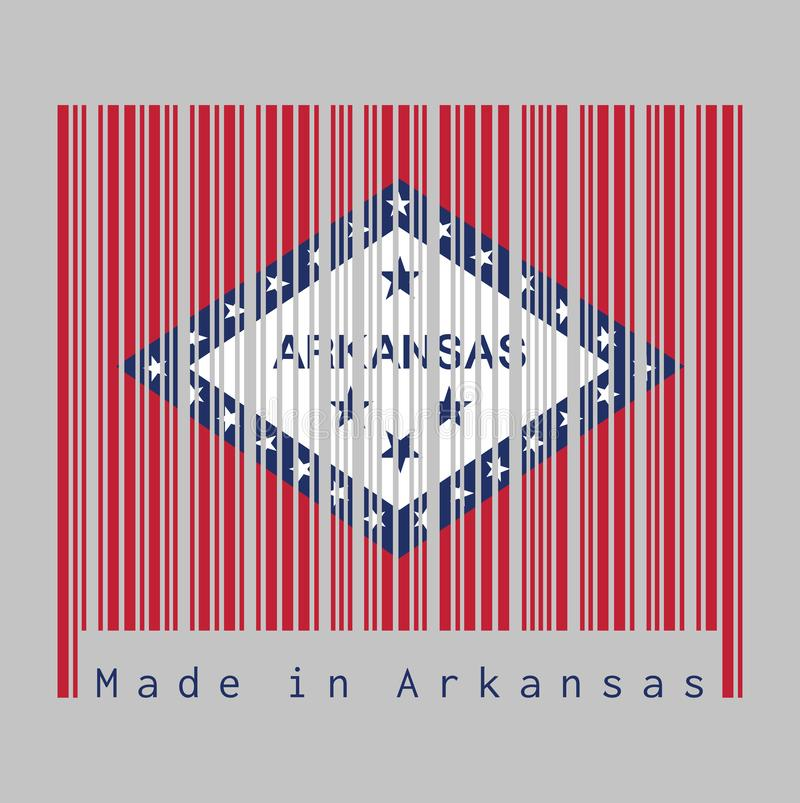 Barcode set the color of Arkansas flag, A rectangular field of red, a large white diamond, bordered by blue and the word `Arkansa. S` and four blue stars, are 25 royalty free illustration