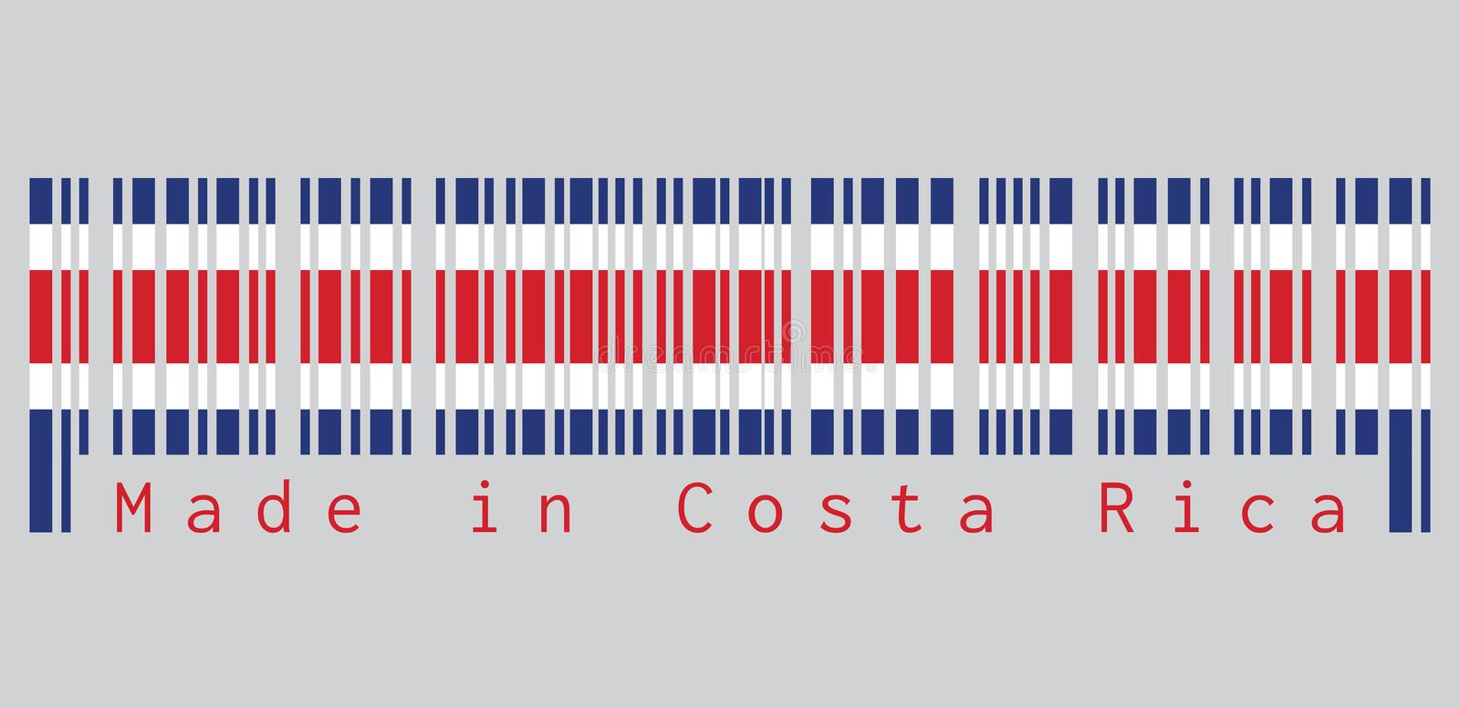 Barcode set the color of Costa Rica flag, blue red and white color on grey background, text: Made in Costa Rica. Concept of sale or business royalty free illustration
