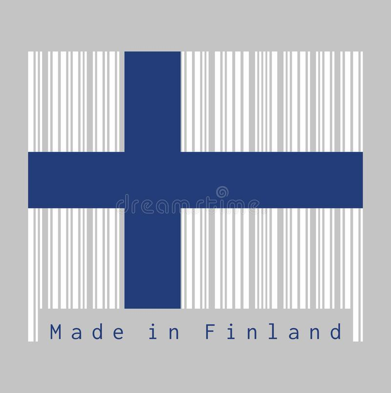 Barcode set the color of Finland flag, Sea blue Nordic cross on a white field. Text: Made in Faroe Finland. concept of sale or business vector illustration