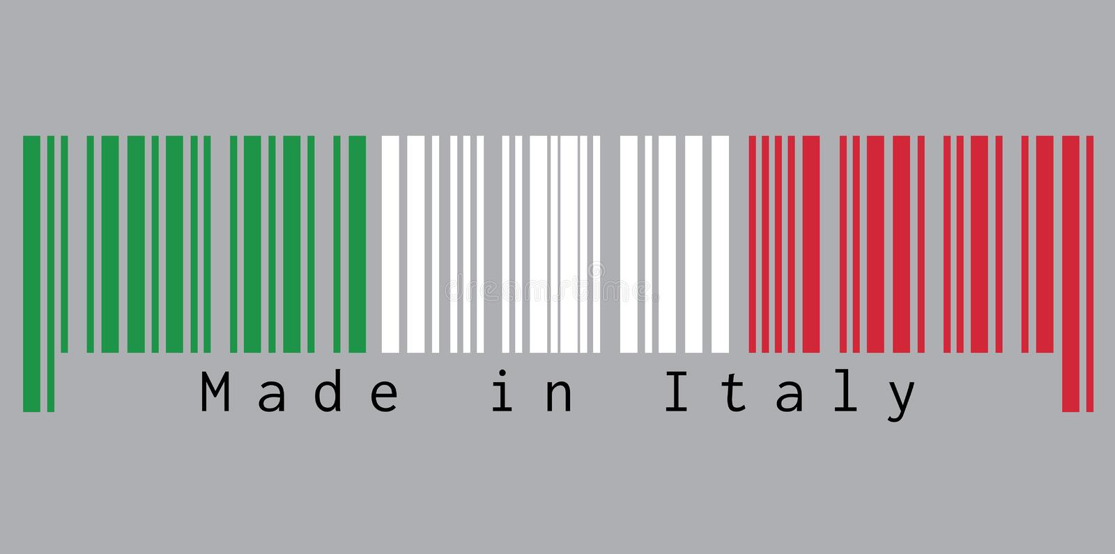 Barcode set the color of Italy flag, green white and red color with text: Made in Italy. stock illustration