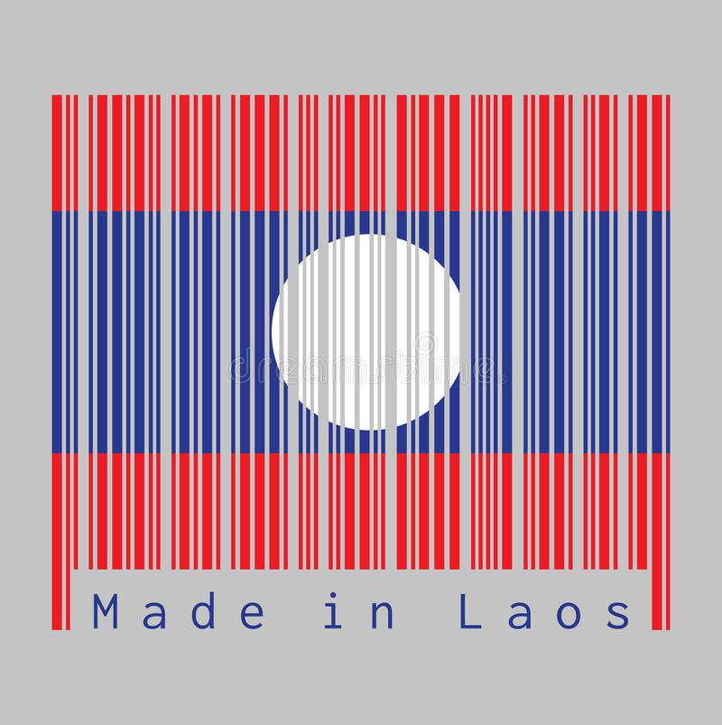 Barcode set the color of Laos flag, blue red and white circle color stock illustration