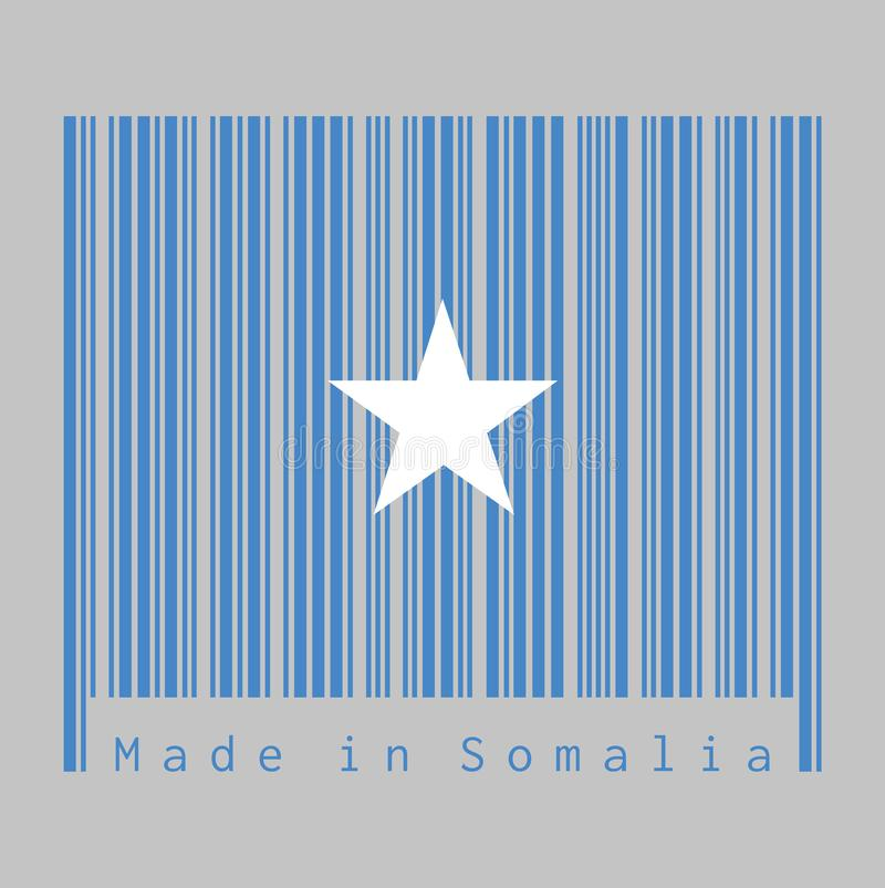 Barcode set the color of Somalian flag, a single white five-pointed star centered on a light blue field. Text: Made in Somalia, concept of sale or business vector illustration