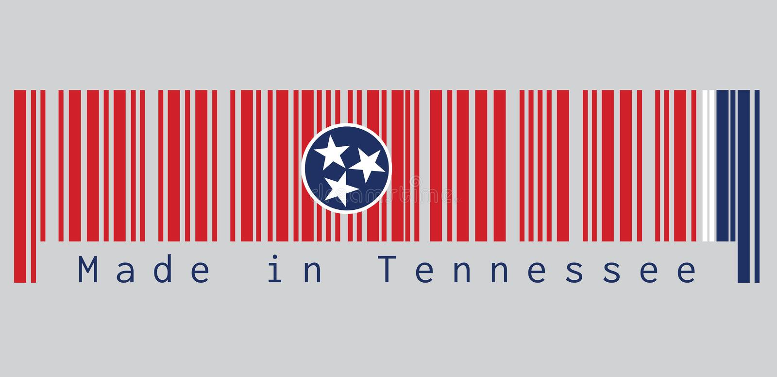 Barcode set the color of Tennessee flag, A blue circle with three white five-pointed stars on a rectangular field of red. vector illustration