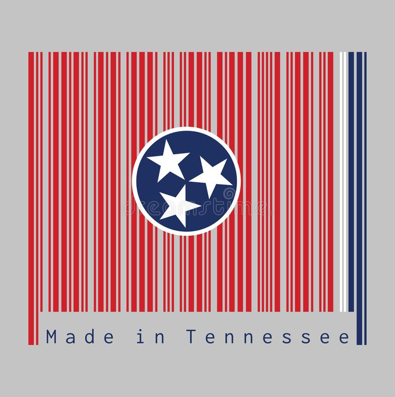 Barcode set the color of Tennessee flag, A blue circle with three white five-pointed stars on a rectangular field of red, with a. Strip of white and blue on the royalty free illustration