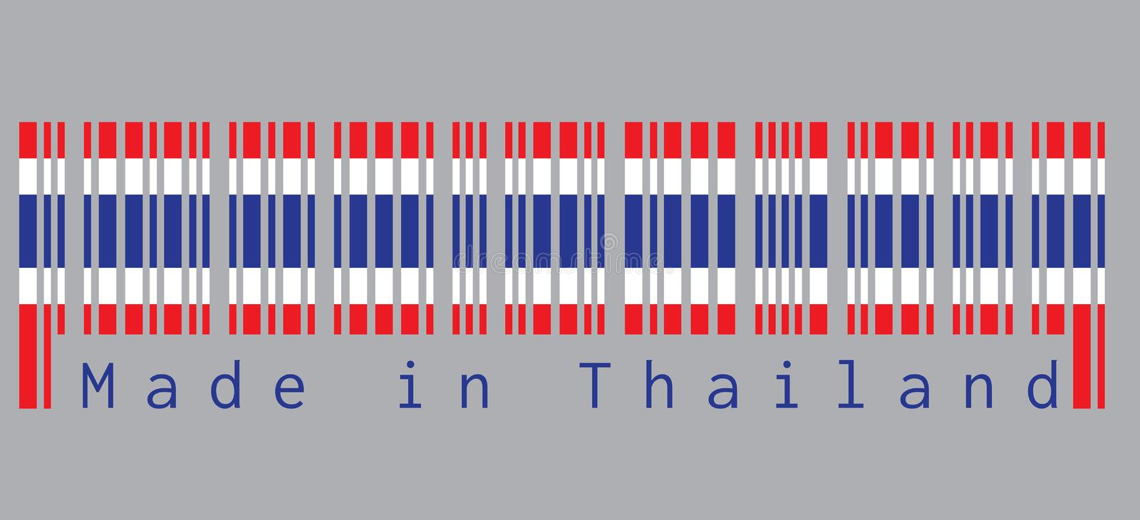Barcode set the color of Thai flag, blue red and white color in grey background with text: Made in Thailand. Concept of sale or business stock illustration