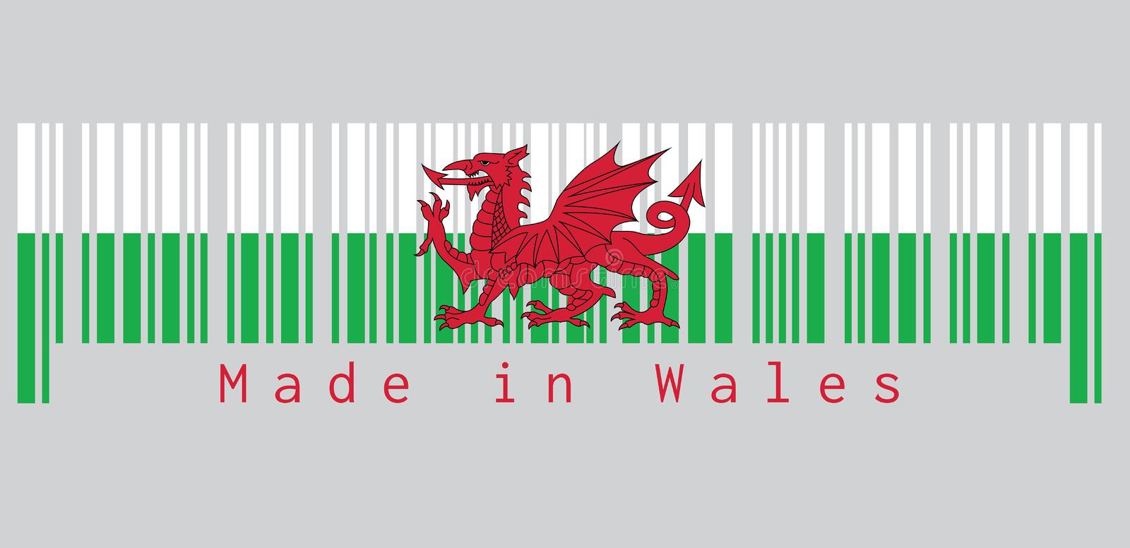 Barcode set the color of Wales flag, consists of a red dragon passant on a green and white field. text: Made in Wales. Concept of sale or business stock illustration