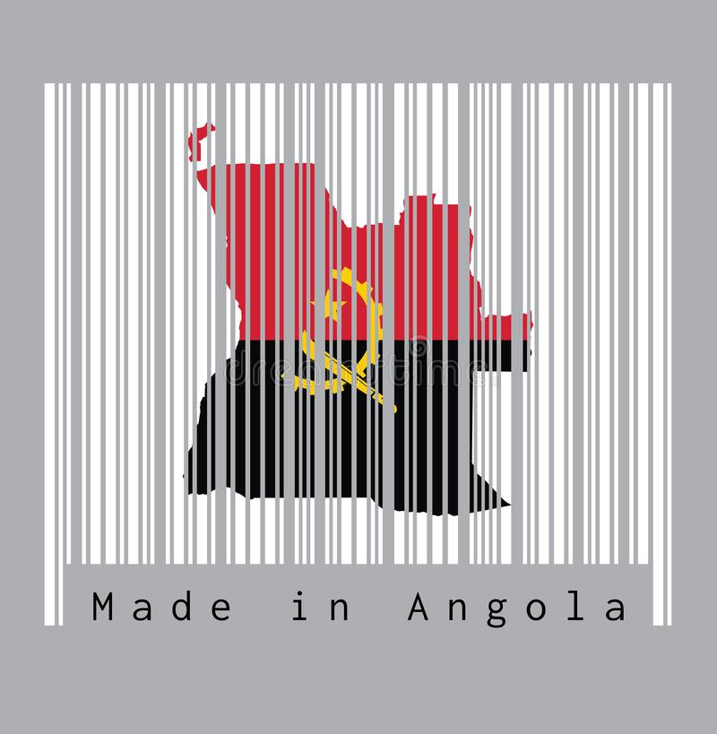 Barcode set the shape to Angola map outline and the color of Angola flag on white barcode with grey background. Barcode set the shape to Angola map outline and stock illustration