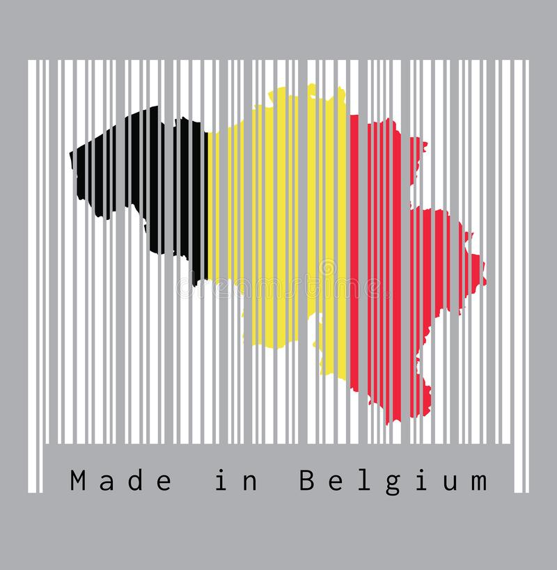 Barcode set the shape to Belgium map outline and flag color on the white barcode with grey background, text: Made in Belgium. Concept of sale or business stock illustration