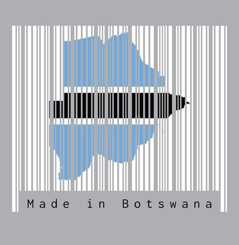 Barcode set the shape to Botswana map outline and flag color on the white barcode with grey background, text: Made in Botswana. Concept of sale or business royalty free illustration